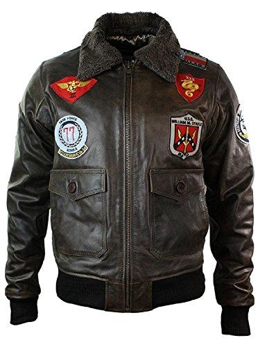 blouson-homme-cuir-veritable-style-aviateur-bomber-us-airforce-avec-badges-et-col-en-fourrure