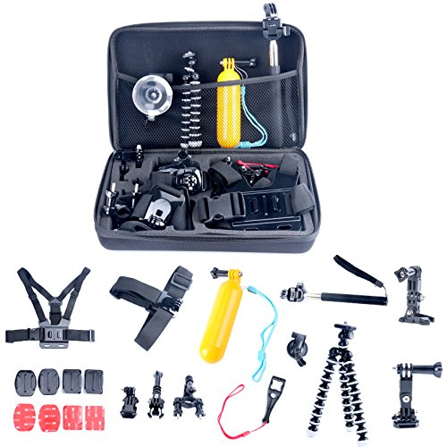 9milelake-26in1-Head-Chest-Mount-Floating-Monopod-Accessories-Kit-for-Gopro-2-3-4-Camera-26-in-1-Accessories-Kit-for-Gopro-Hero-4-Hero-Hd-3321-Camera