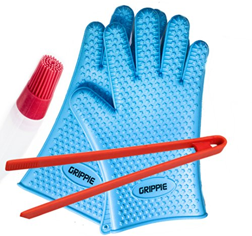 New BBQ, Grilling & Oven Silicone Heat Resistant Cooking Gloves With FREE TONGS & BASTING BR...