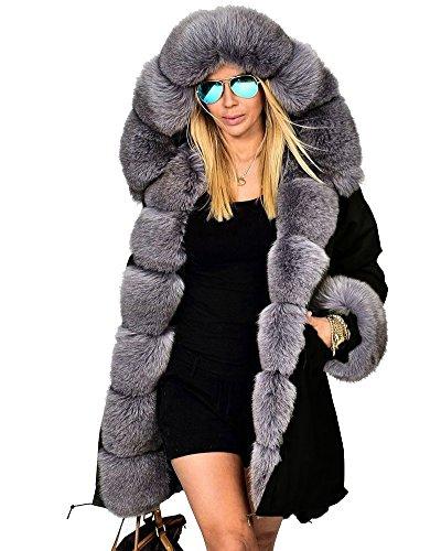 Roiii Women's Warm Winter Coat Hood Parka Overcoat Faux Fur Jacket Outwear (L, Black) (Fur Hood Coat compare prices)