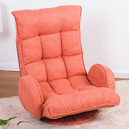bad77cd0a884 Merax Adjustable Fabric Folding Chaise Lounge Sofa Chair Floor Couch  (Orange 1)