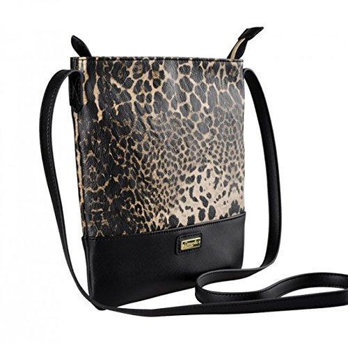 BORSA TRACOLLA CAMOMILLA LEO nera leopardata 00576