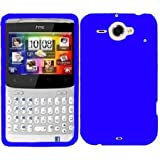 Phonedirectonline- blue silicone skin case cover pouch with screen protector for HTC Chacha