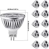 10x LED MR16 4W = 40W Dimmable Warm 3000K Ultra Bright Spot Light Lamp Bulbs, Equivalent to 50W Halogen,60 Degree Beam Angle,JACKYLED Technology Recessed Track Light,360LM,Standard Mr16 Shape,Input:12V DC,Compatible for Silicon-controlled Rectifier(SRC)Dimmers