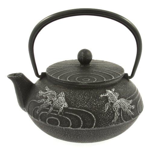 Iwachu Japanese Iron Teapot Tetsubin Silver and Black Goldfish (Japanese Teapot Iwachu compare prices)