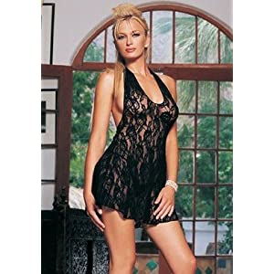 2PC Halter Rose Lace Chemise Sexy Lingerie Intimate Apparel with G-String