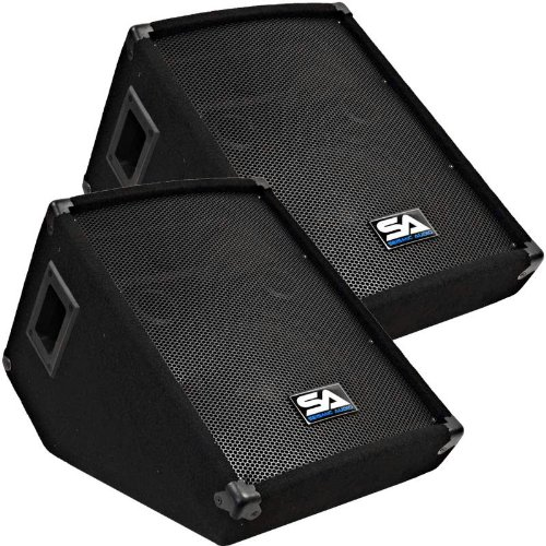 "Seismic Audio - Pair Of 10"" Wedge Style Floor Monitors - Studio, Stage, Or Floor Use - Pa/Dj Monitors"