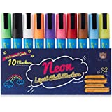 Chalk Markers 10 pk -Beary Genius Premium Artist-Quality Neon Liquid Chalk Markers with 6mm Reversible Tips - Mega Pack of 10 Markers