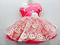 Sheetal Fashion Girls' Net Frock (SF-101_6-12 Months, Rani) (1-2 YEARS)