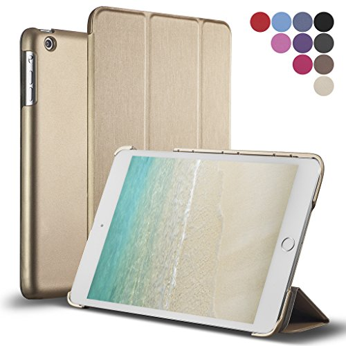 iPad Air Case, ROARTZ Metallic Gold Slim Fit Folio Smart Stand Case Premium Rubber Coated Cover Non Slip Surface with Auto Wake/Sleep Feature for Apple iPad Air 1 Retina Display 1st Generation 1G