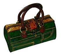 A Luxurious Genuine Leather Handbag with Jeans Designs, 100% Handmade, Attractive Green or Blue. Unique ! (Green)