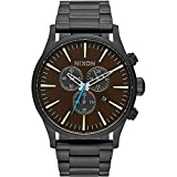 Nixon Men's A3862209 Sentry Chrono Analog Display Japanese Quartz Black Watch (Color: Black/Brass/Brown)