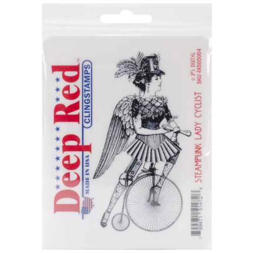 Deep Red Stamps Steampumk Lady Cyclist Rubber Stamp