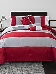 Heritage Kids YK678504 Rugby Stripe Reversible (5 Piece) Comforter Set