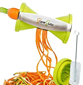 Best Spiral Slicer: Stainless Steel Vegetable Spiralizer, Special Japanese Blades, 2 Julienne Sizes, Best Spiral Cutter for Healthy Low Carb Veggie Meals and great for Zucchini, Paderno & Carrots - LIFETIME GUARANTEE
