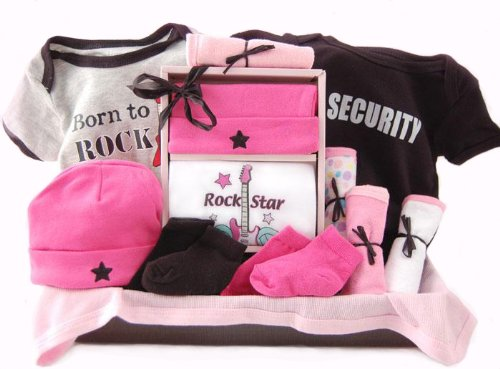 Born to Rock New Baby Girl Basket - Unique Shower Gift Idea
