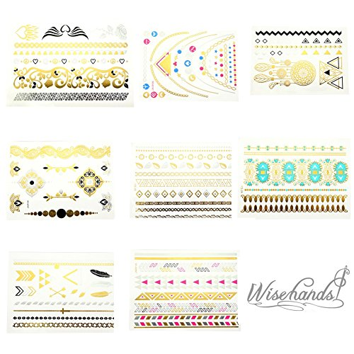8 Sheets Package Temporary Jewelry Tattoos Metallic Tattoo Fashion Accessory Body Art Tattoos fashion western tribal elements temporary tattoos stickers