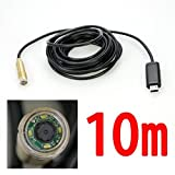 Foxnovo 10M30ft USB Waterproof Copper Head Endoscope Borescope Inspection Tube Pipe Camera with 4-LEDs Night Vision (Black)