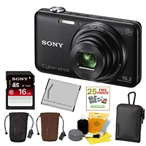 SONY Cyber-shot DSC-WX80/B Compact Zoom Digital Camera in Black + Sony 16GB Class 10 SD Card + Sony Case in Black + Sony Drawstring Style Case + 25 Free Quality Photo Prints + Lithium Ion Rechargeable Battery + Enhanced Lens Cleaning Kit