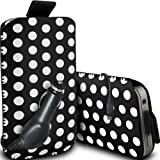 Fone-Case Alcatel One Touch S'Pop Protective Polka PU Leather Pull Cord Slip In Pouch Quick Release Case & 12v Micro USB In Car Charger (Black & White)
