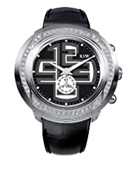 RSW Men's 9130.BS.L1.12.F1 Volante Diamond Stainless Steel Sub-Second Luminous Black Leather Watch