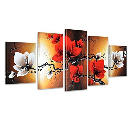 """Bilderdepot24 """"Blumen M3"""" handgemaltes Leinwandbild 150x70cm 5 teilig 631"""