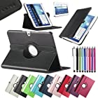 Pandamimi ULAK(TM) Leather 360 Rotating Case Cover for Samsung Galaxy Tab3 10.1 Tablet P5200 P5210 Auto Sleep/Wake function with Screen Protector and Stylus (Black)