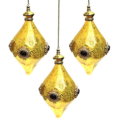 Martha Stewart Collection Gold Jewel Faceted Drop 5.5″ Holiday Christmas Ornaments; Set of 3