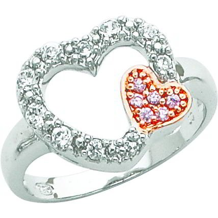 Sterling Silver & Vermeil Cubic Zirconia Heart Promise Ring Sz 7