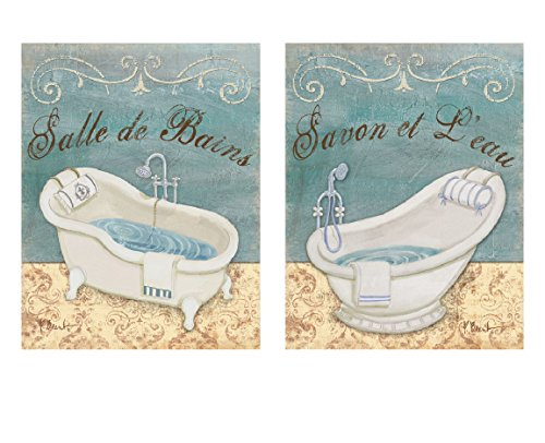Powder Blue French Bathtubs: Savon Et L'eau & Salle De Bains; Two 8x10 Bath Prints Bain Bath