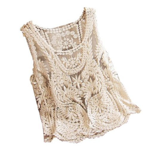 Crochet Tank Top : ... Lace Floral Sleeveless Crochet Knit Vest Tank Top Shirt Blouse eBay