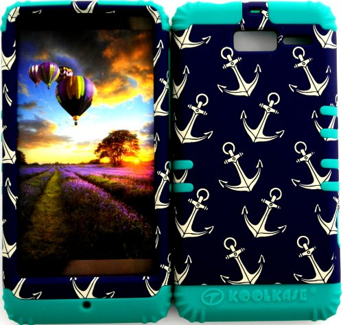 Bumper Case for Motorola Droid Razr M (XT907, 4G LTE, Verizon) Protector Case Anchor on Dark Blue Pattern Snap on + Teal Silicone Hybrid Cover