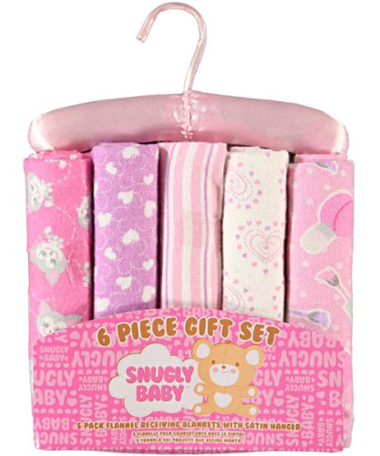 Snugly Baby 6 Piece Receiving Blanket Gift Set (Blue)