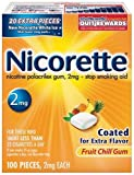 Nicorette Nicotine Polacrilex Gum, 2 mg, Fruit Chill, 100-Count Box