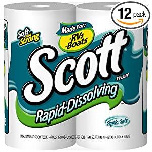Scott Rapid Dissolve Bath Tissue Double Roll, 4-Count Packages (Pack of 12)