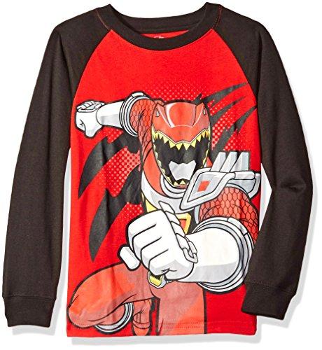 Power Rangers Boys' Little Boys' Long Sleeve Raglan T-Shirt, Red/Black, Small/4 (Power Ranger Pajamas compare prices)