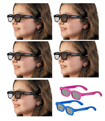 5 Pairs - OFFICIAL Kid Sized RealD Circular Polarized 3D Glasses for Passive 3D TV's from Vizio, Toshiba, LG, Philips and JVC and for use in Real-D Theaters (includes 2 3DHeaven Kids 3D Glasses)