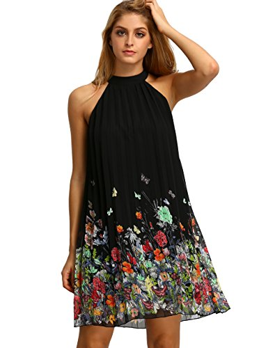 Floerns Women's Summer Chiffon Sleeveless Party Dress Black S