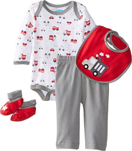 Bon Bebe Baby-Boys Newborn Beep Bodysuit Bib Booties And Pant Set, Multi, 6-9 Months front-989682