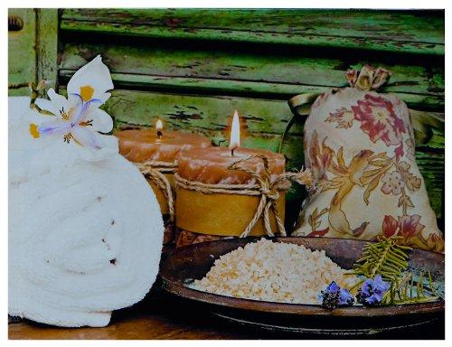 """Kunstdruck """"Leinensack, Kerzen und ein Herz"""" - 50x70x3 cm - Extraklassiges Leinwandbild, Keilrahmenbild. Unerreichbare Qualität!"""
