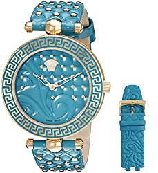Versace Women's VK7130014 Vanitas Gold Ion-Plated Watch with Two Blue Leather Bands