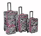 Rockland Luggage 4 Piece Luggage Set, Pink Zebra, One Size