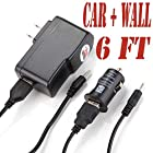 6 Feet Power Supply with Round Jack Plug (6ch) Fits Gooweel 7 Q88 Pro A23 (Set of Two Car and Wall)
