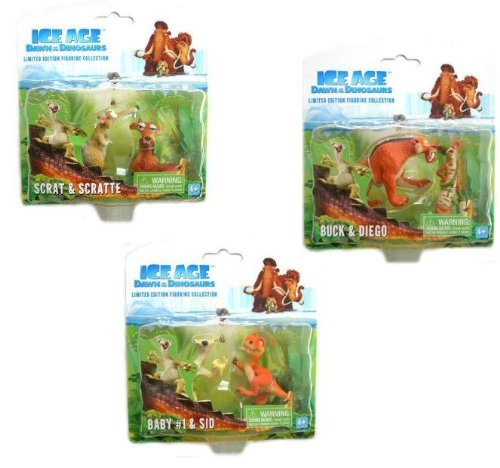ICE AGE 3: Dawn of the Dinosaurs - Figure SET of 6 Characters / Buck , Diego , Scrat , Scratte , SID and Baby 1