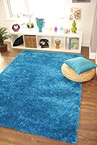 Ribbons Teal Blue Modern Soft Yarn Thick Quality Shag Pile Rugs - 4 Small Large Sizes by The Rug House