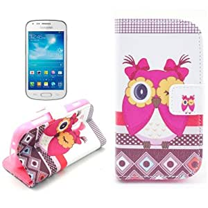 Owl Pattern Leather Case with Card Slots & Holder for Samsung Galaxy Trend Duos S7562