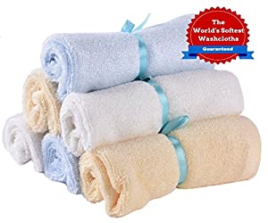 World's Softest Baby & Face Washcloths. Best Super Soft Bath Wash Cloths & Gentle Organic Wipes for Cleansing Sensitive Skin. Perfect Gifts for Baby Shower Registry, Gift Baskets & Travel Bathing Kits