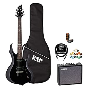 ESP F JB-F10KIT-BLK-KIT-5 Electric Guitar with Tuner, Picks, ESP Gig Bag, Cable and Guitar Amp - Black