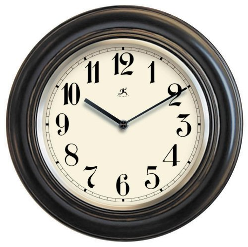 Infinity Instruments The Benchmark - Black Wood Wall Clock Metal Bezel