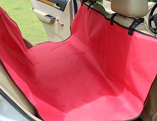 PetCee Dog Car Rear Back Seat Cover Dog Waterproof Hammock Dog Machine Washable Cushion Mat (Double Seat Red)